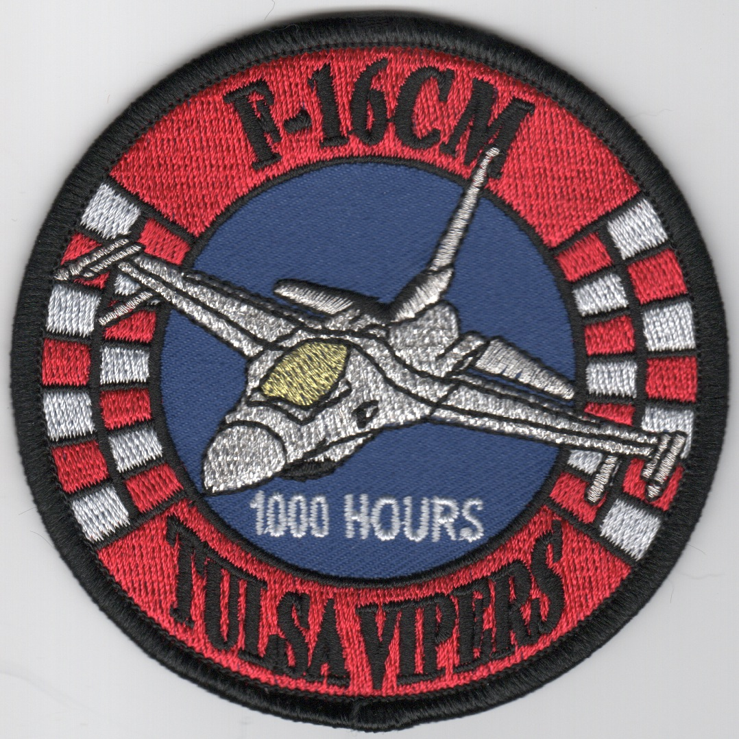 125FS 'Tulsa Vipers' 1000 Hours F-16CM Patch