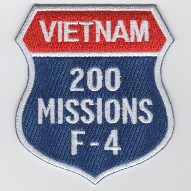 F-4 '200 Missions/North Vietnam' Shield Patch