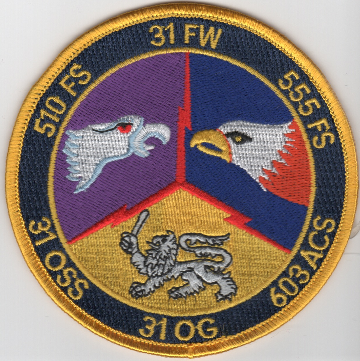 31FW 'Gaggle' Patch (3 Sqdn/Yellow Border)