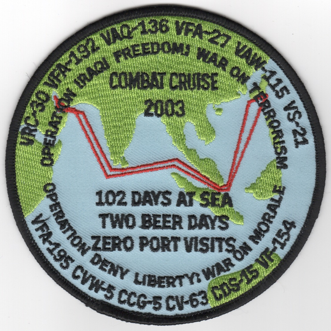 373) CV-63/CVW-5 2003 'COMBAT CRUISE' Patch