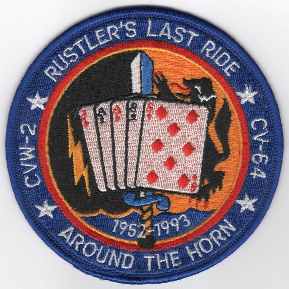 377) CV-64/CVW-2 1993 'LAST RIDE' Cruise Patch