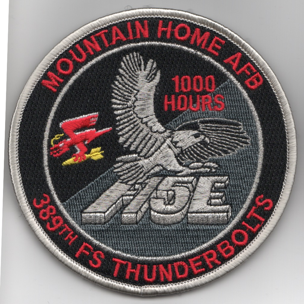 389FS F-15E 'Tinsel' Patch (Red Letters/1000 Hours/V)