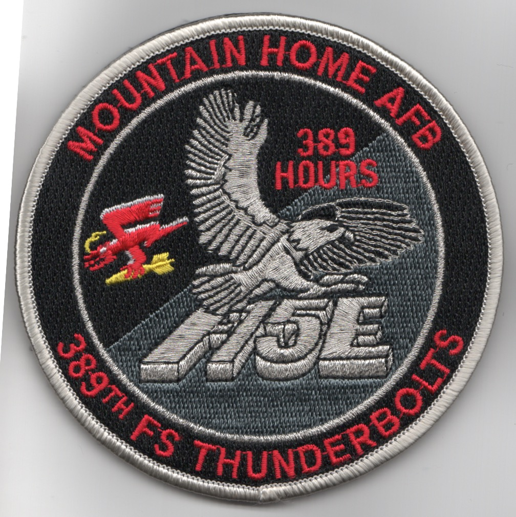 389FS F-15E 'Tinsel' Patch (Red Letters/389 Hours/V)
