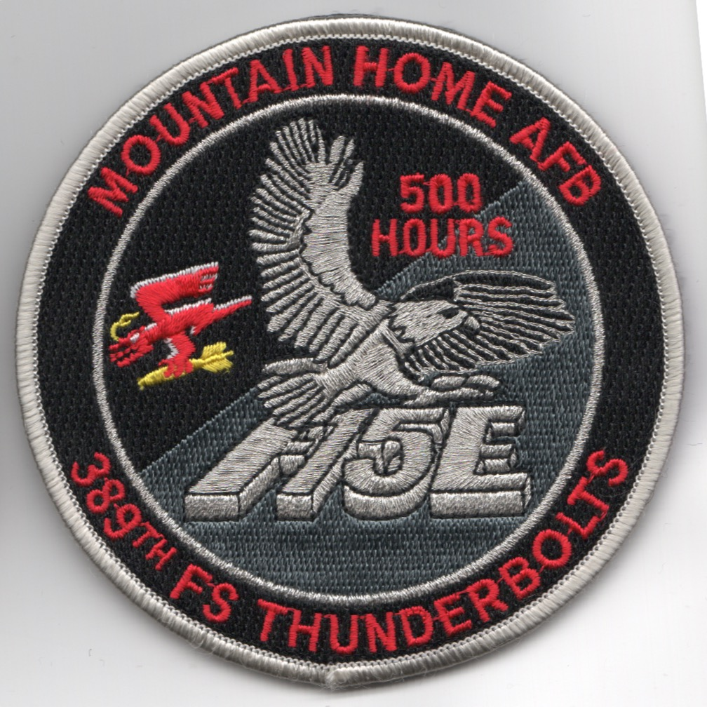 389FS F-15E 'Tinsel' Patch (Red Letters/500 Hours/V)