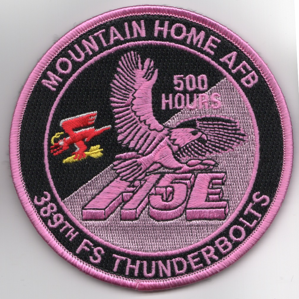 389FS F-15E 'Tinsel' Patch (PINK/500 Hours/V)
