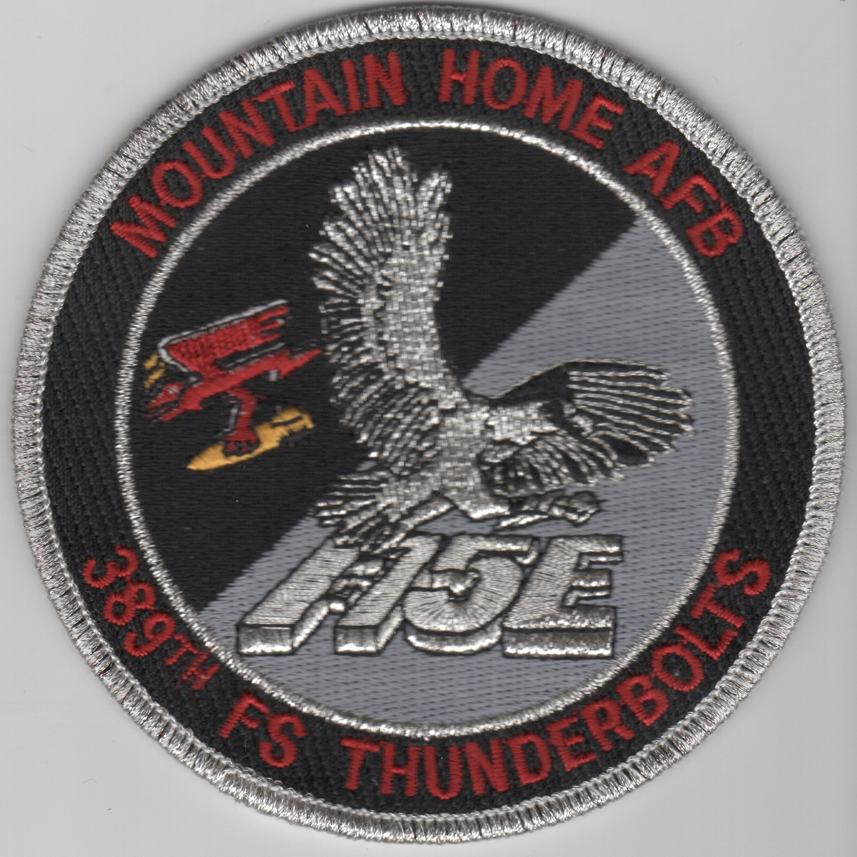 389FS F-15E 'Tinsel' Patch (Black/Red Letters/No Velcro)