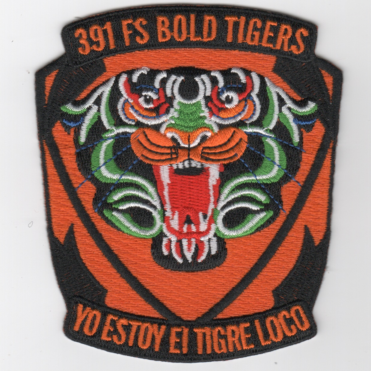 391FS Historical 'Tiger-Face' Patch (Org/Green)