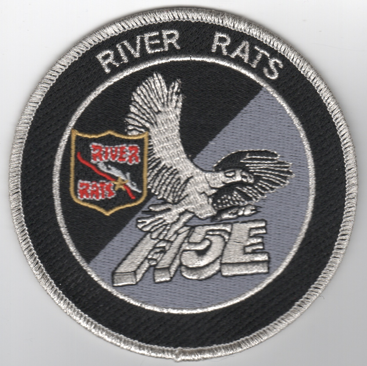 RRVA F-15E Black/Silver 'Tinsel' Patch (No Velcro)