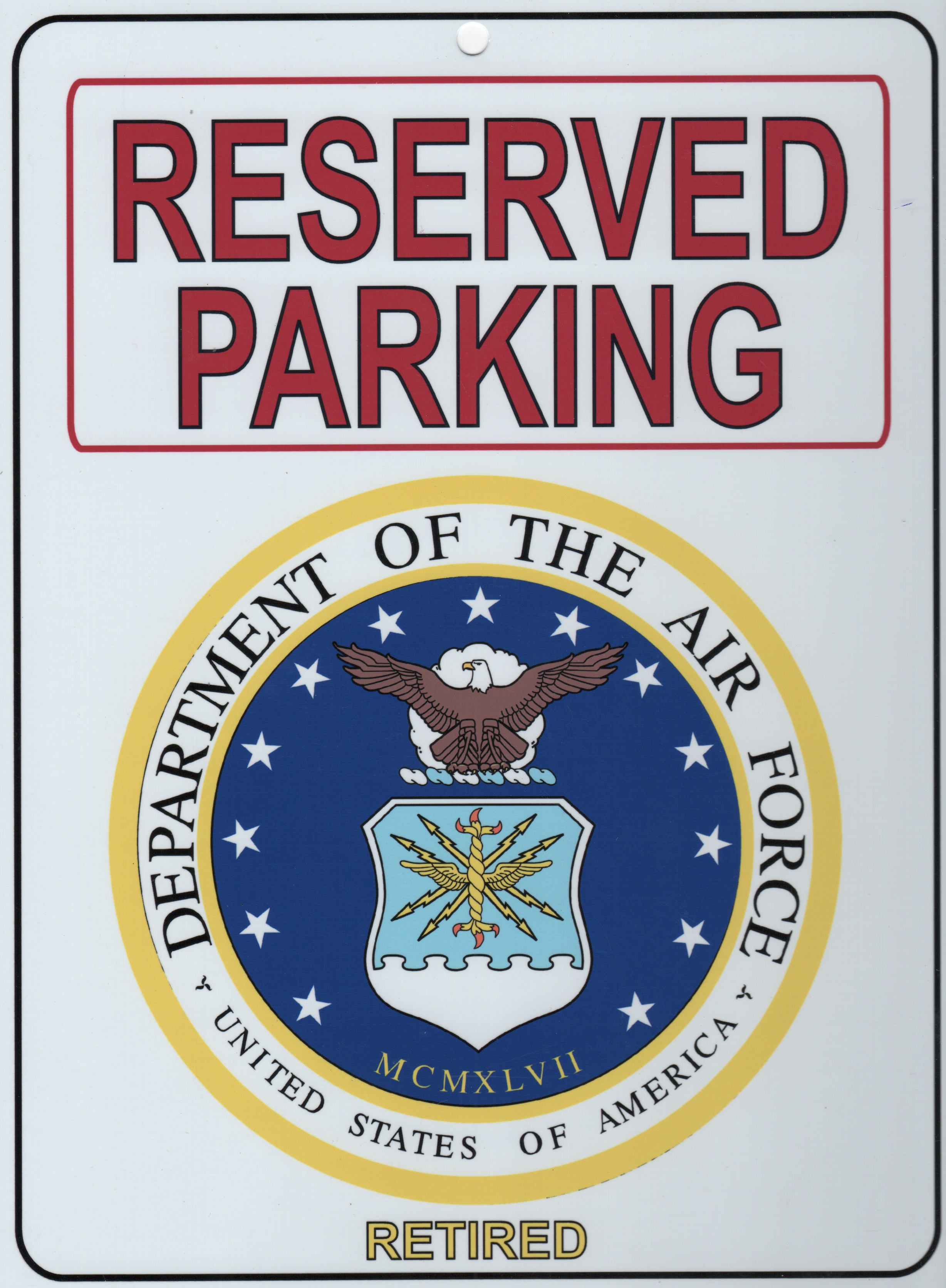 USAF RETIRED 'Parking Placard'