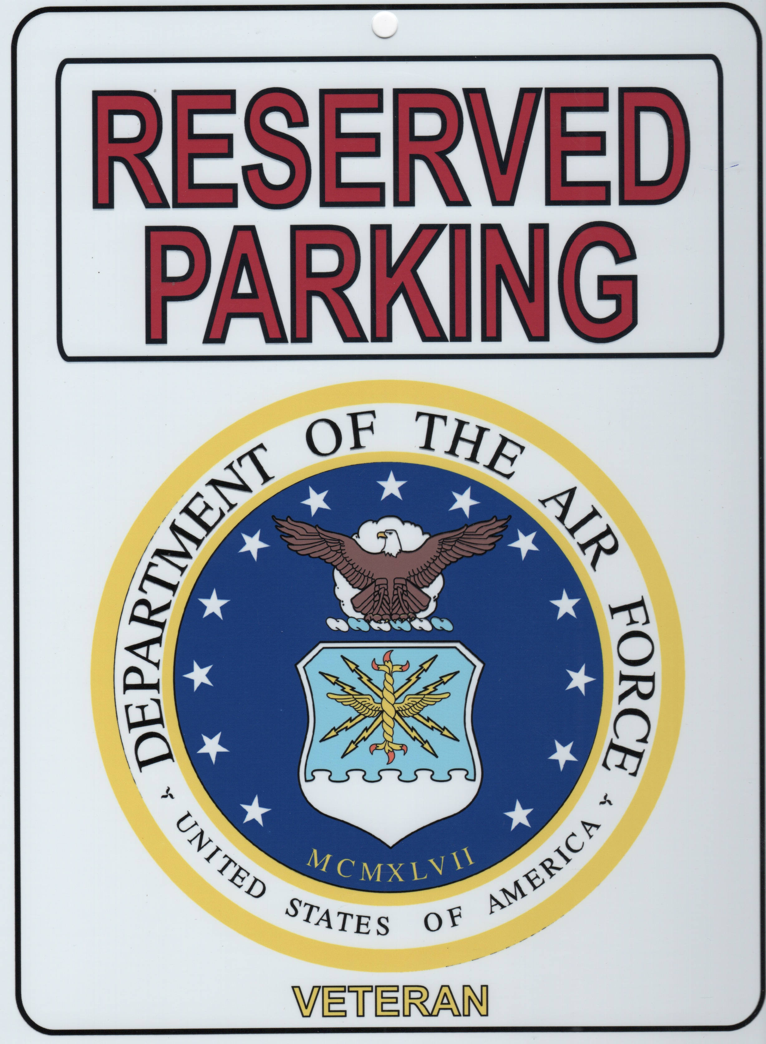 USAF VETERAN 'Parking Placard'