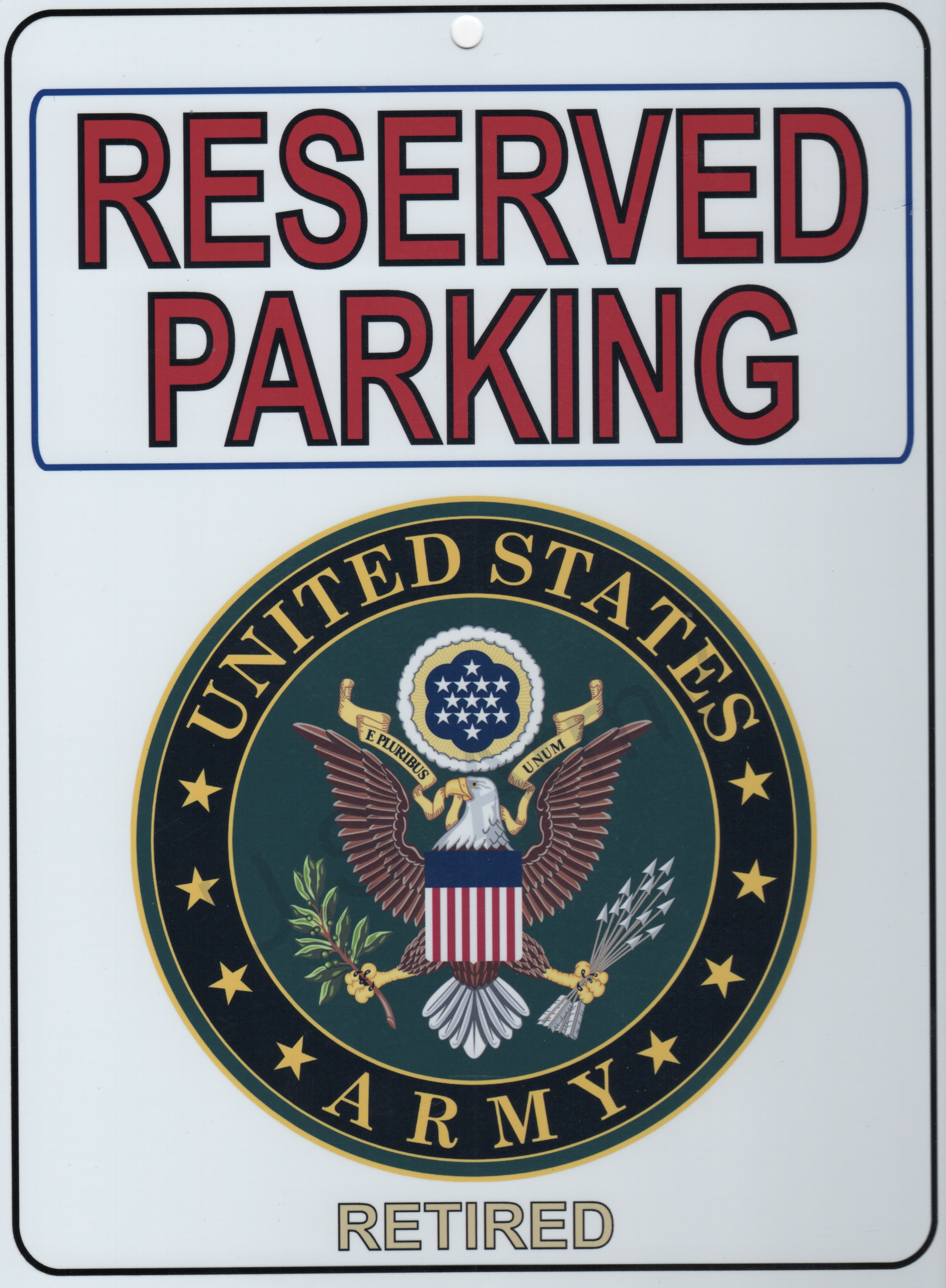 US ARMY RETIRED 'Parking Placard'