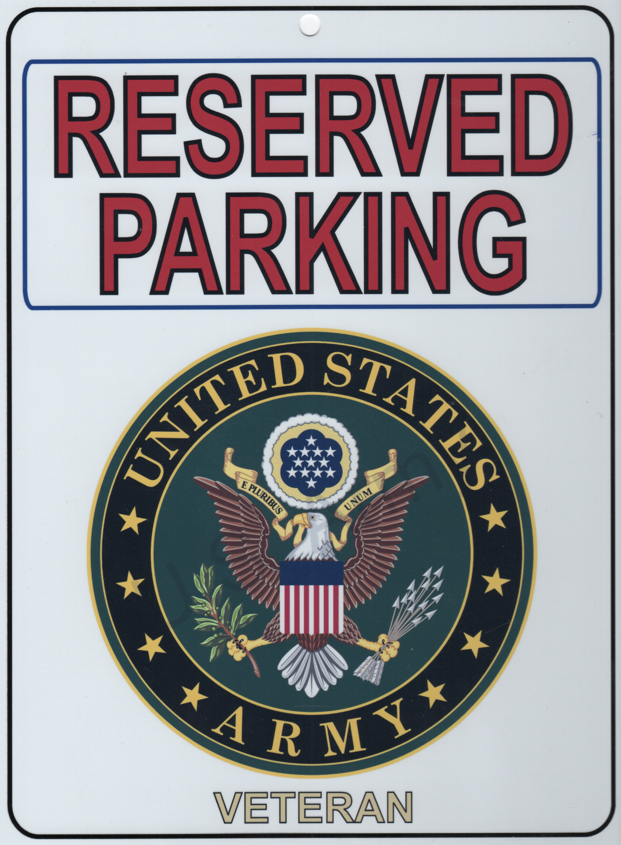US ARMY VETERAN 'Parking Placard'