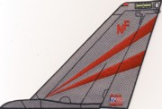 VF-154 F-14 Tomcat Tail Fin (Red/Gray Stripes)