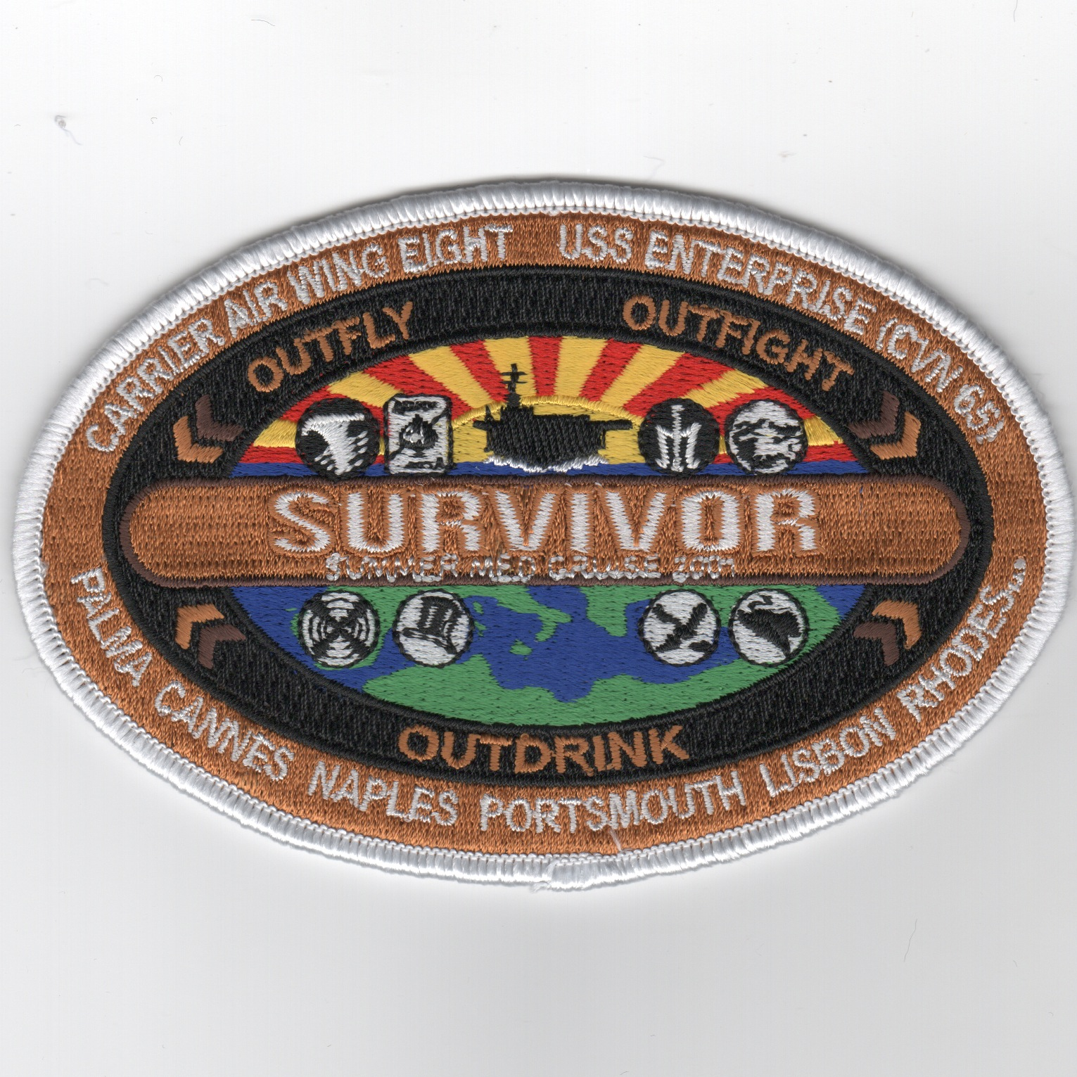 CVN-65/CVW-8 2001 'Survivor' Cruise Patch (Oval)