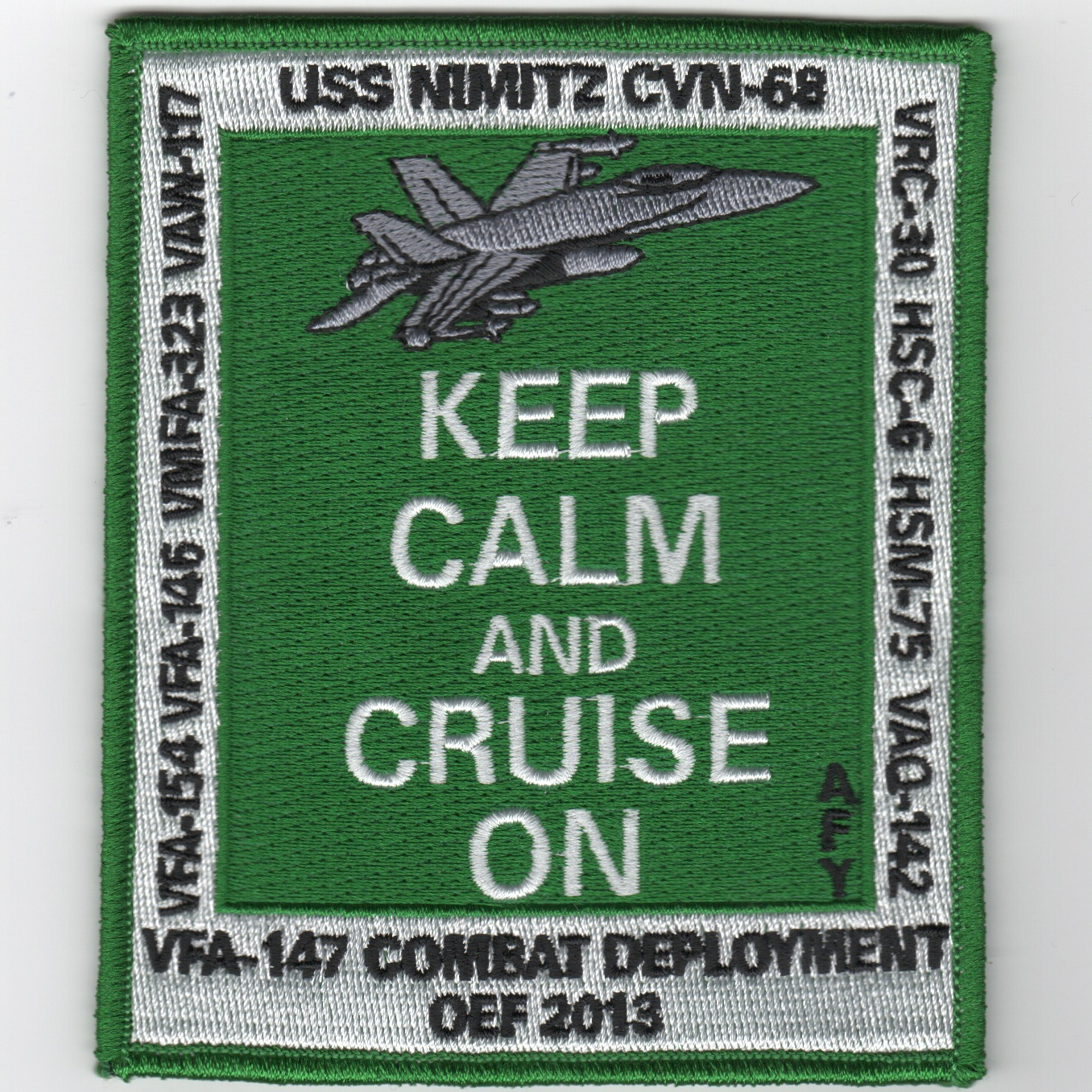 CVN-68/VFA-146 2013 OEF 'Keep Calm' Cruise Patch (Green)