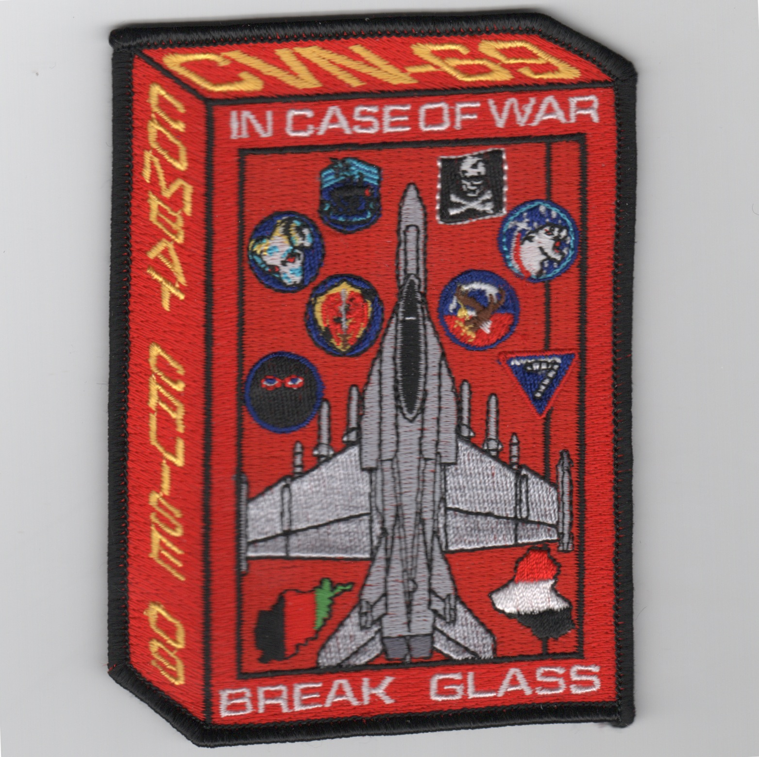 CVN-69/VFA-143/CVW-7 2009 'Break Glass' Cruise Patch (Red)