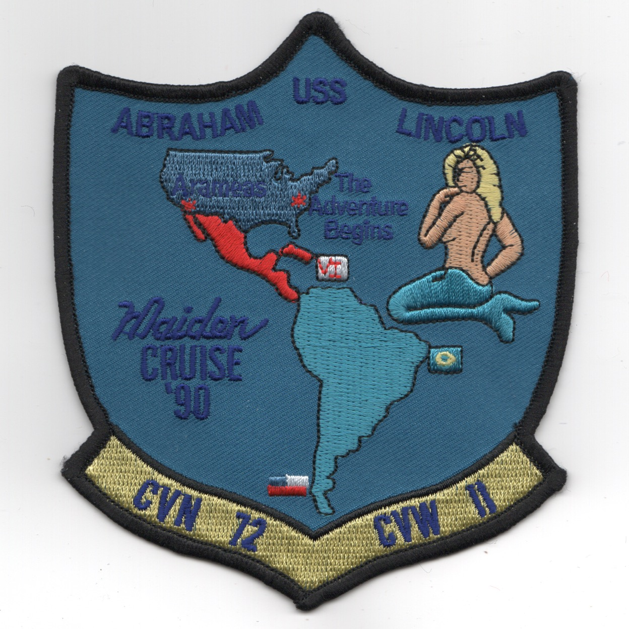 CVN-72 1990 'MAIDEN CRUISE' Shield (Blue)