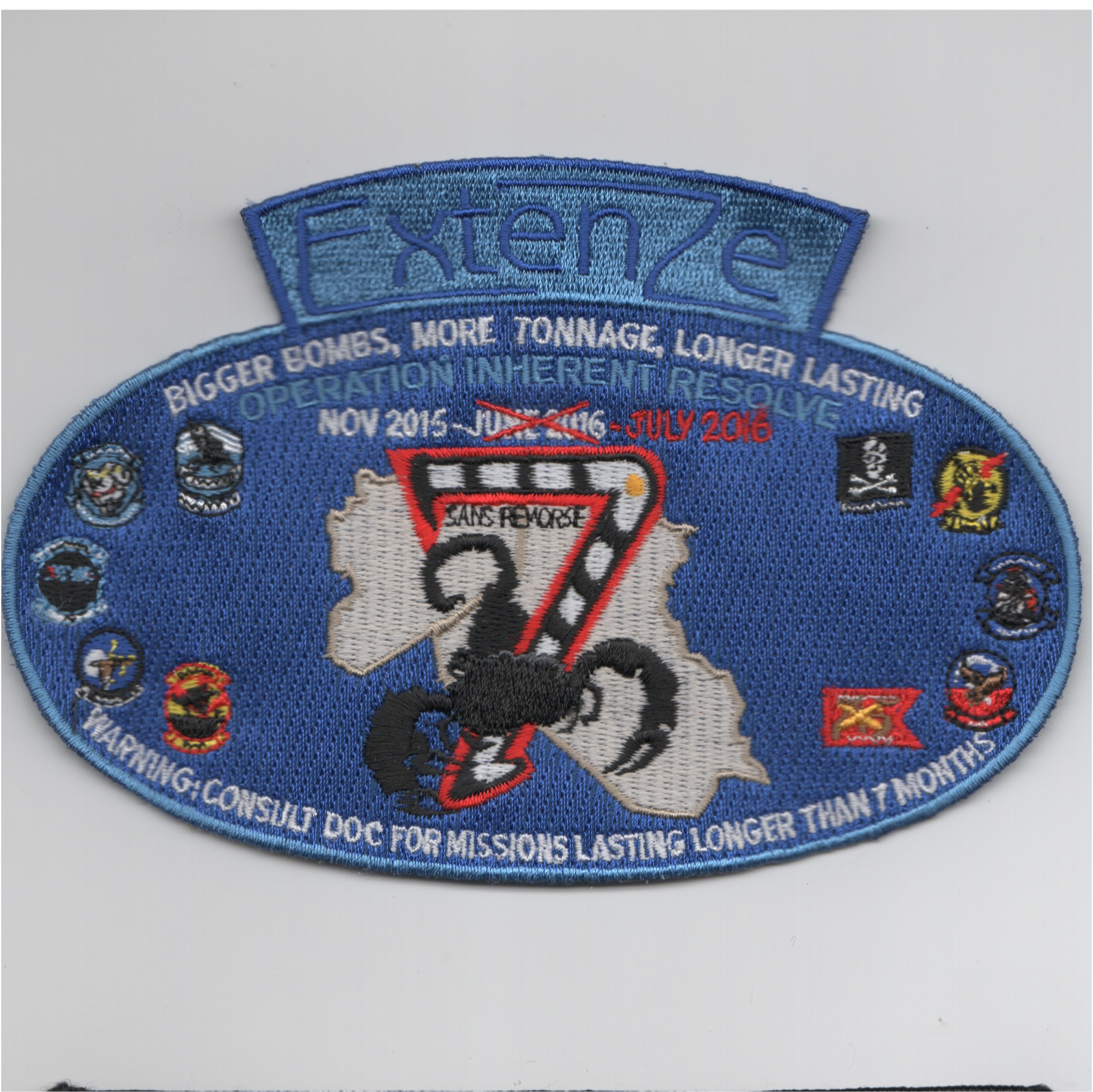 CVN-75/VFA-143/CVW-7 2016 'EXTENZE' Cruise Patch