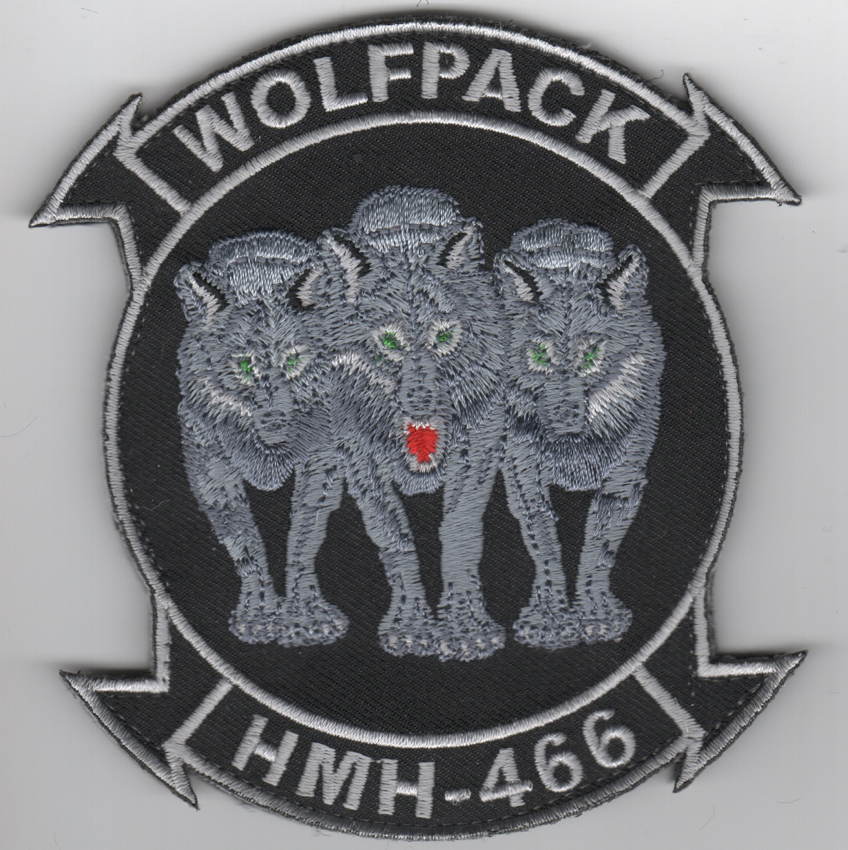 HMH-466 '3-Wolves' Squadron Patch (Black)
