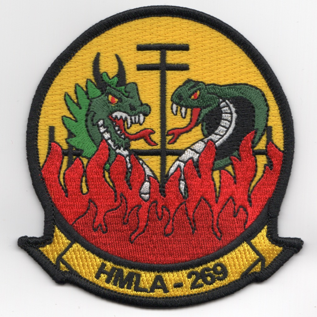 HMLA-269 Squadron Patch (2 Dragons/Yellow)