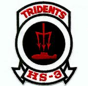 HS-3 Squadron Patch (Lrg/Red Letters)
