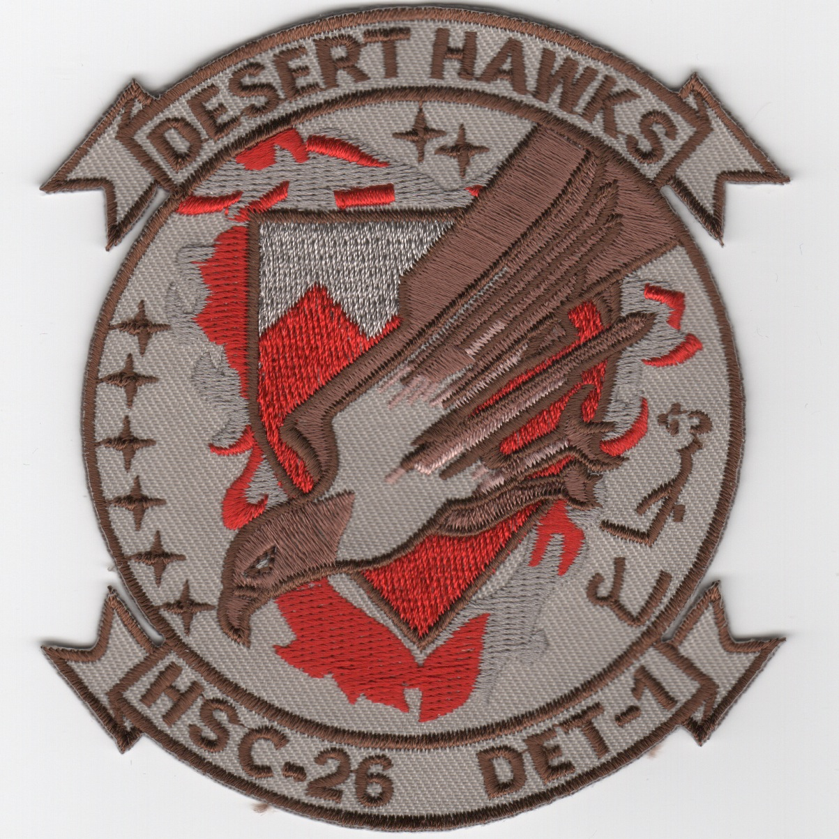 HSC-26 Det-1 'DESERT HAWKS' Patch (Des/Red)