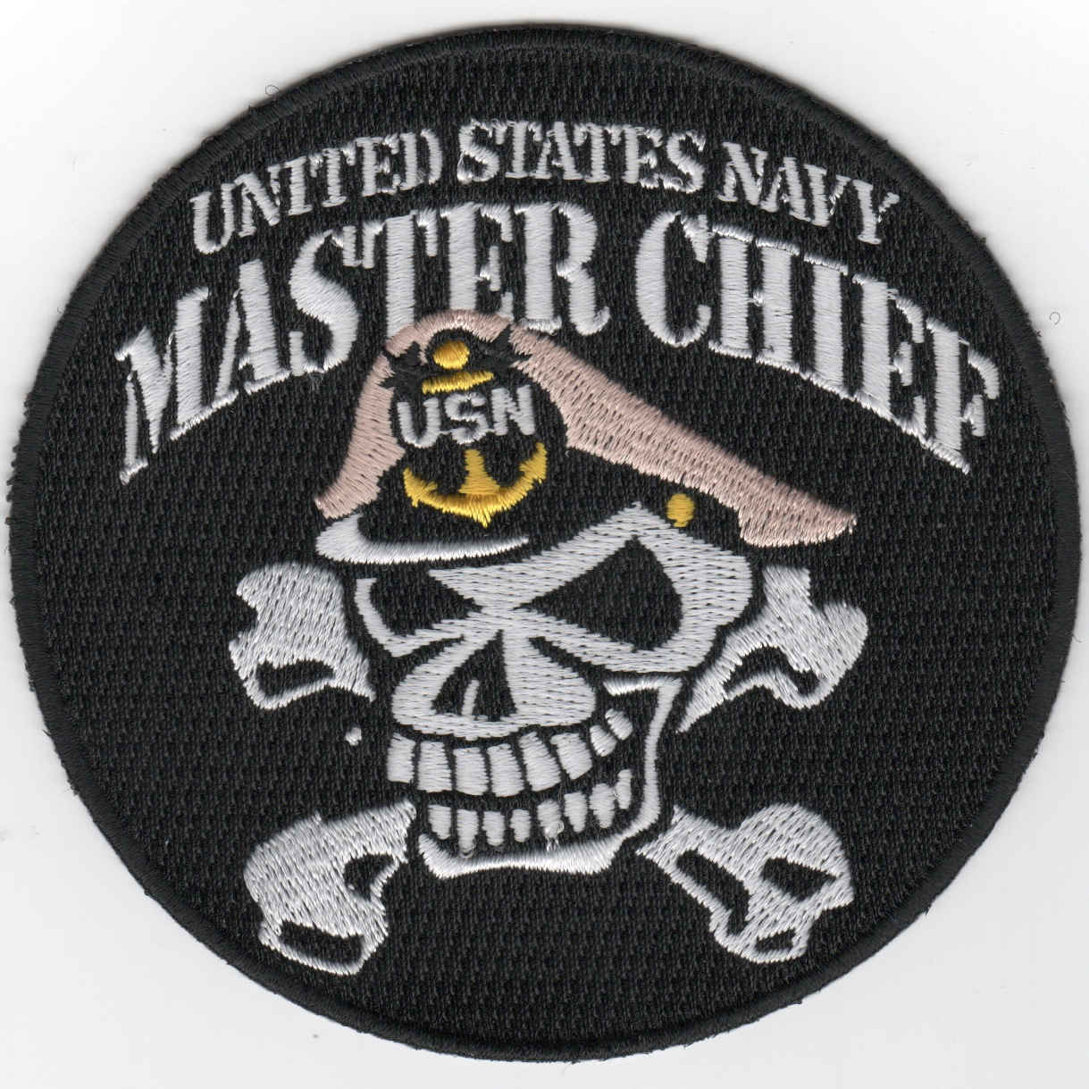 USN MASTER Chief Patch (Skull/Round/Black)