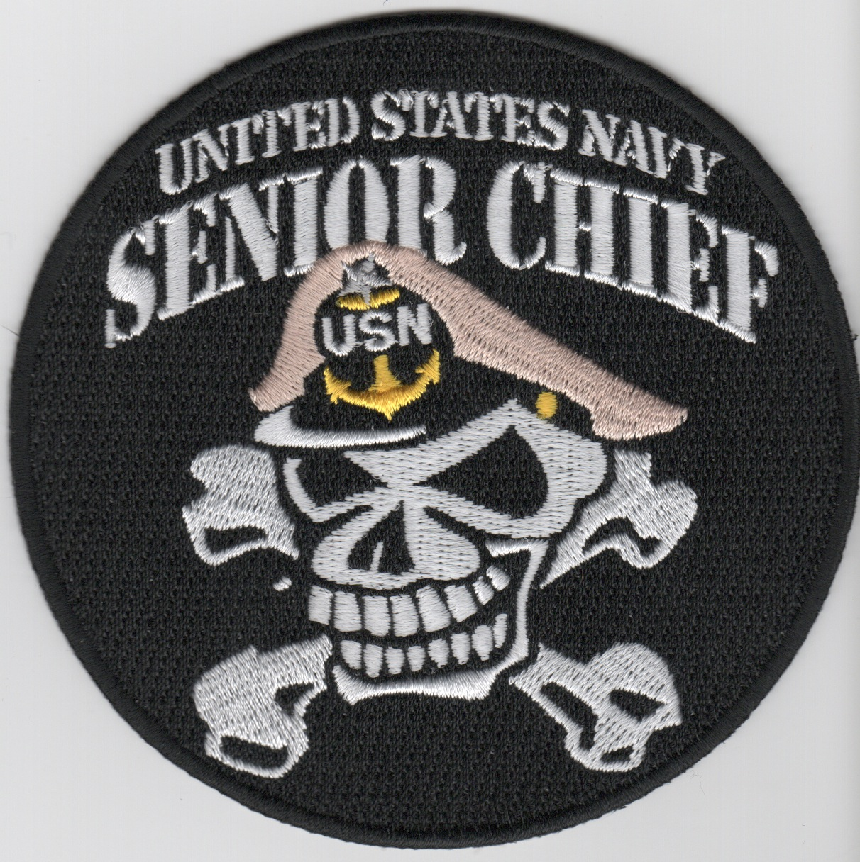 USN SENIOR Chief Patch (Skull/Round/Black)