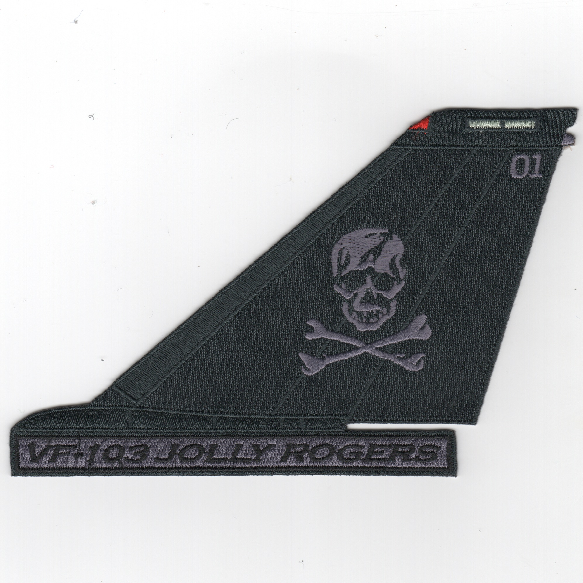 VF-103 F-14 Tailfin (Black/Gray Skull/Text)
