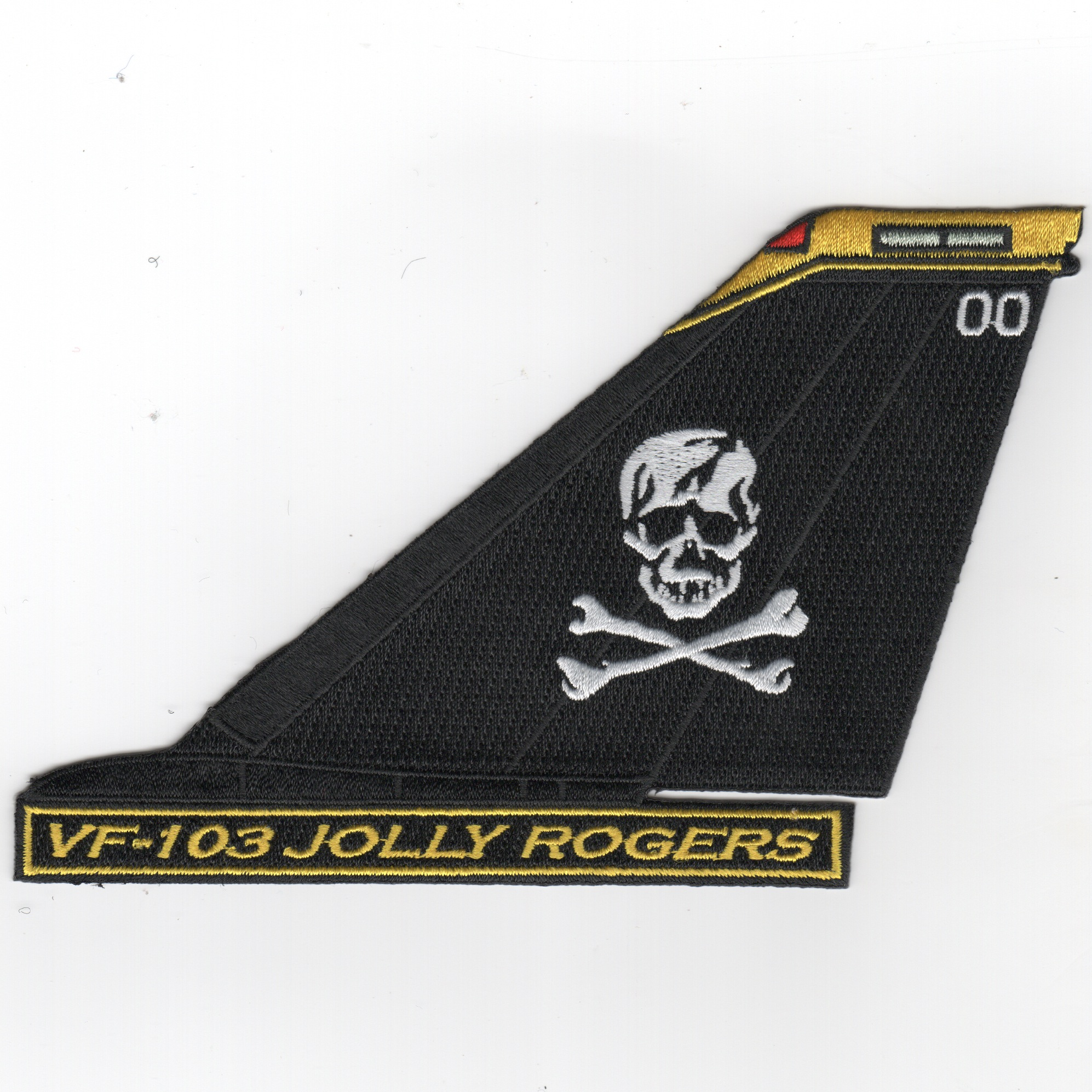 VF-103 F-14 Tailfin (Black/White Skull/Yellow Tip/Text)