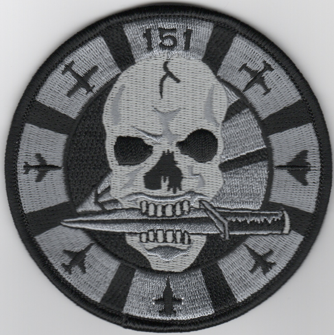 VFA-151 'Skull' Bullet Patch (Lrg/Blk-Gry/AC/No Velcro)