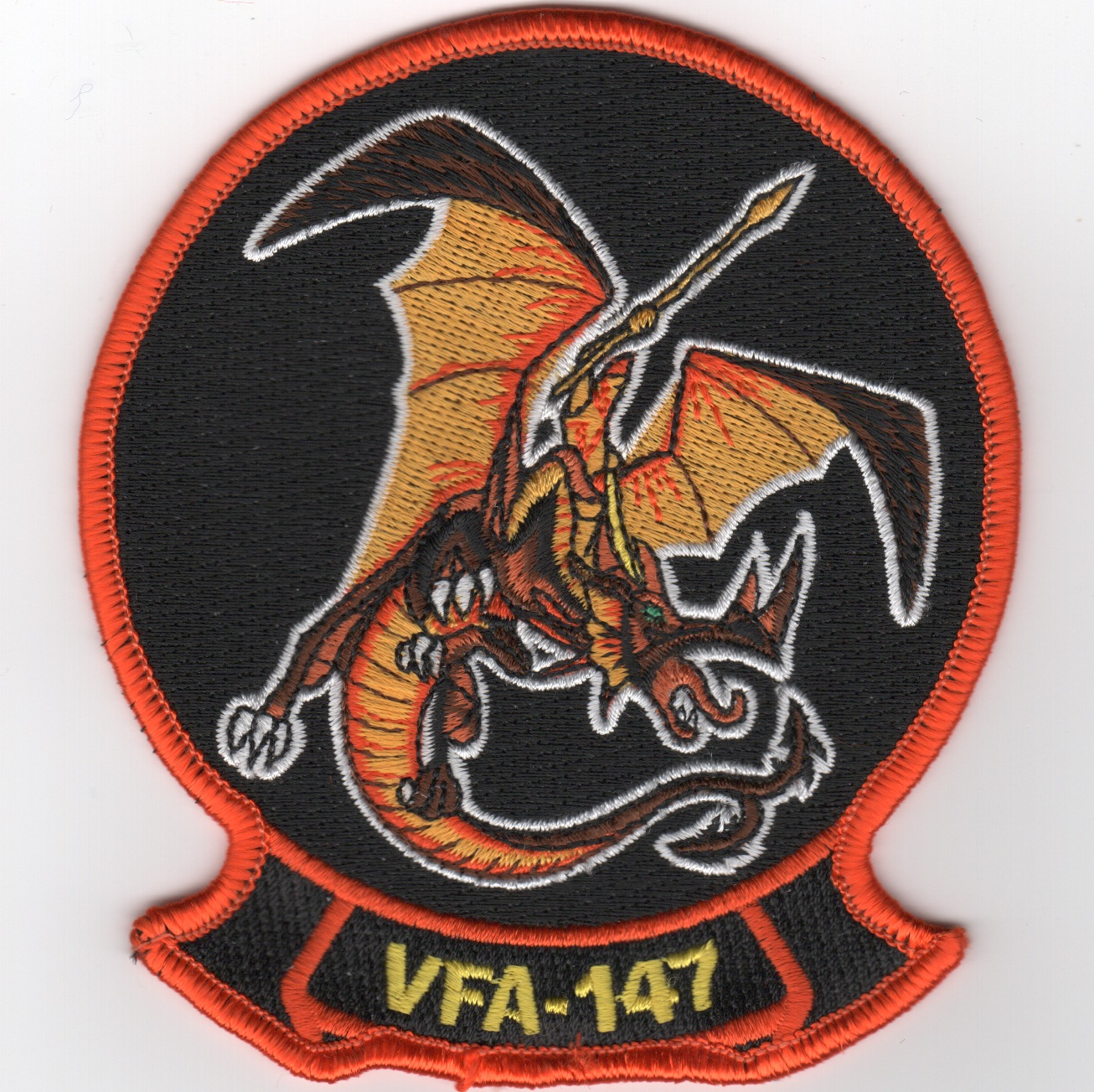 VFA-147 Sqdn Patch (Org Man/Org Dragon)