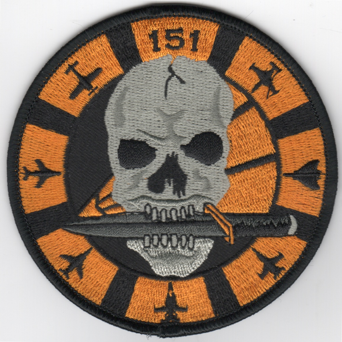 VFA-151 'Skull' Bullet Patch (Lrg/Blk-Ylw/AC/No Velcro)