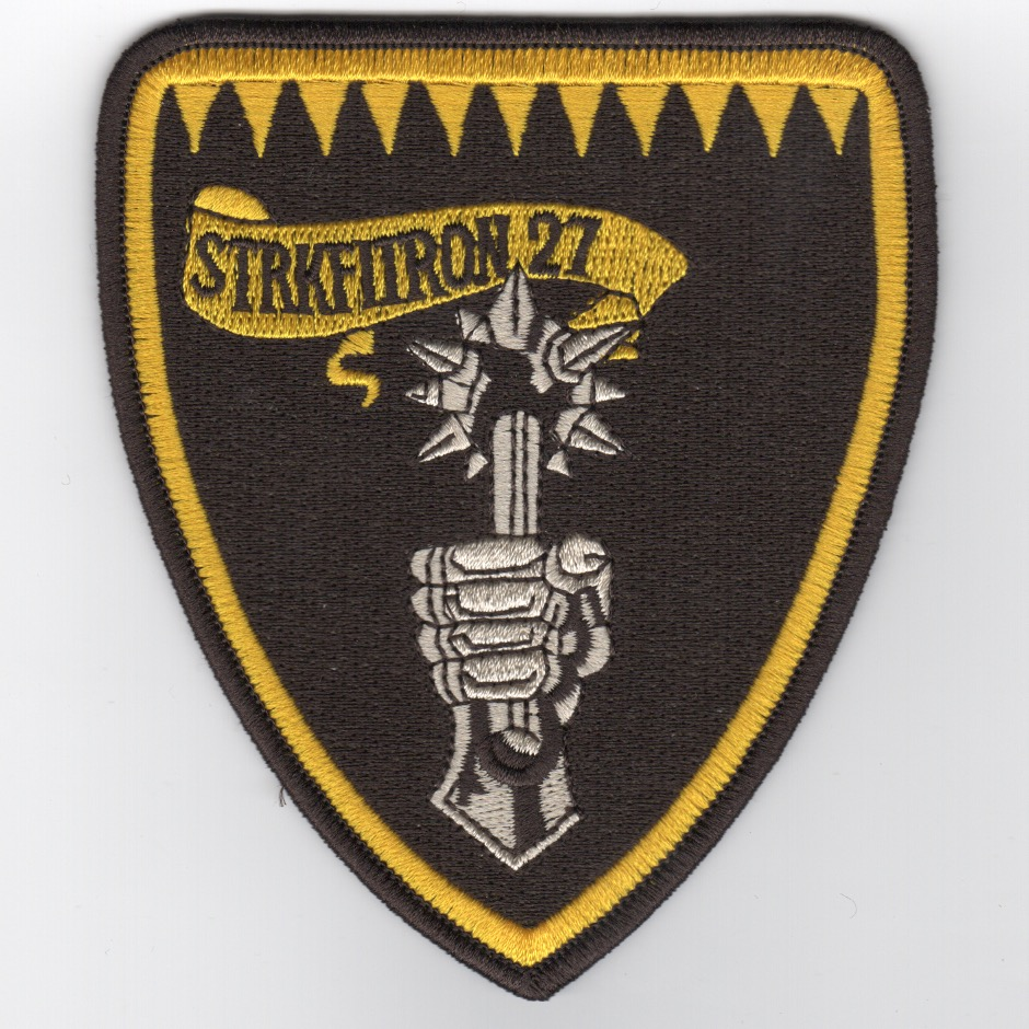 VFA-27 Squadron Shield Patch (Med/Blk-Ylw)