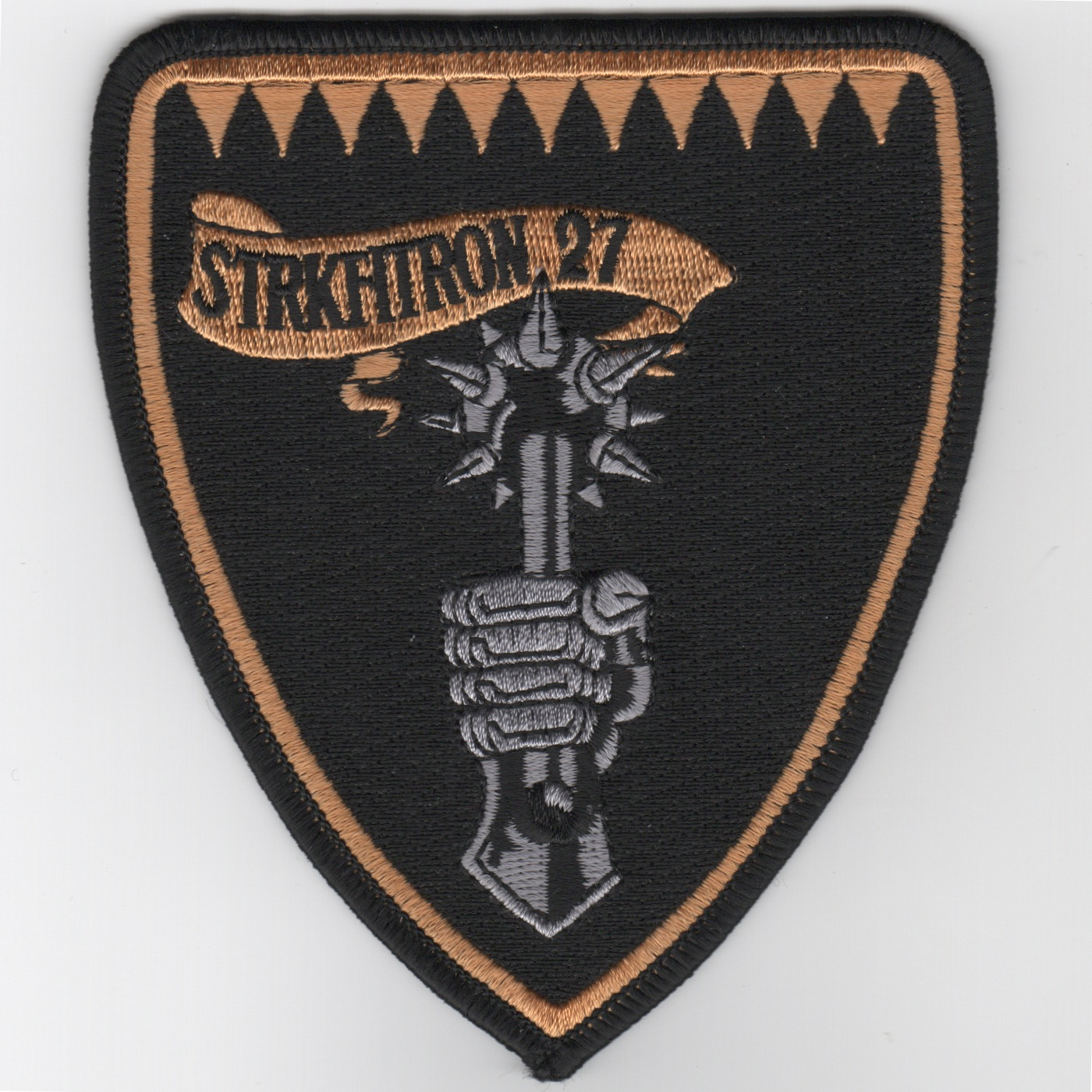 VFA-27 Squadron Shield Patch (Large/Gray Hand-Mace)