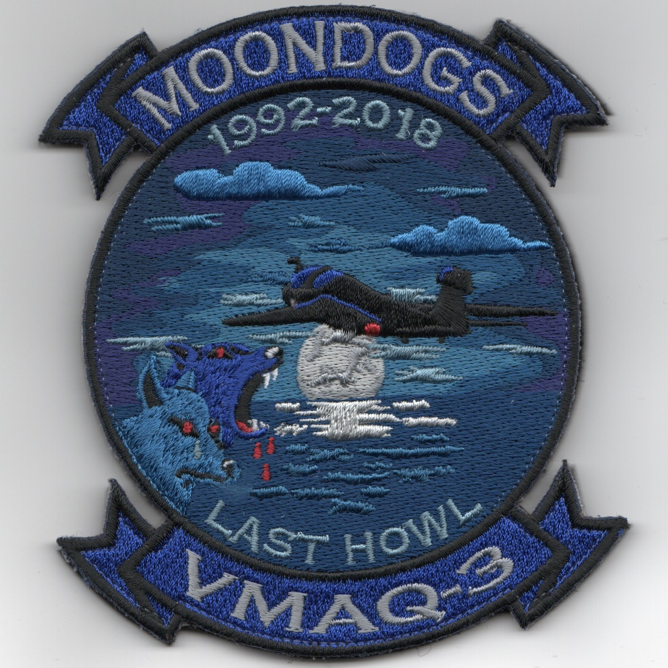 VMAQ-3 'Last Howl/MOONDOWN' Sqdn Patch (Blue)