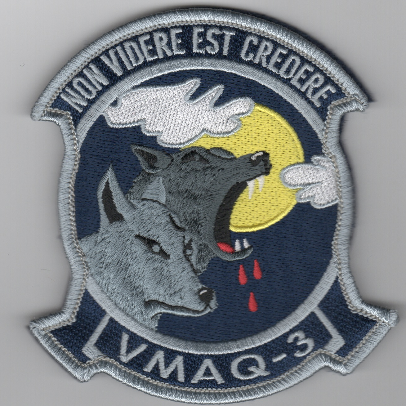 VMAQ-3 Deployed Sqdn Patch (Blue/Furry Wolves)