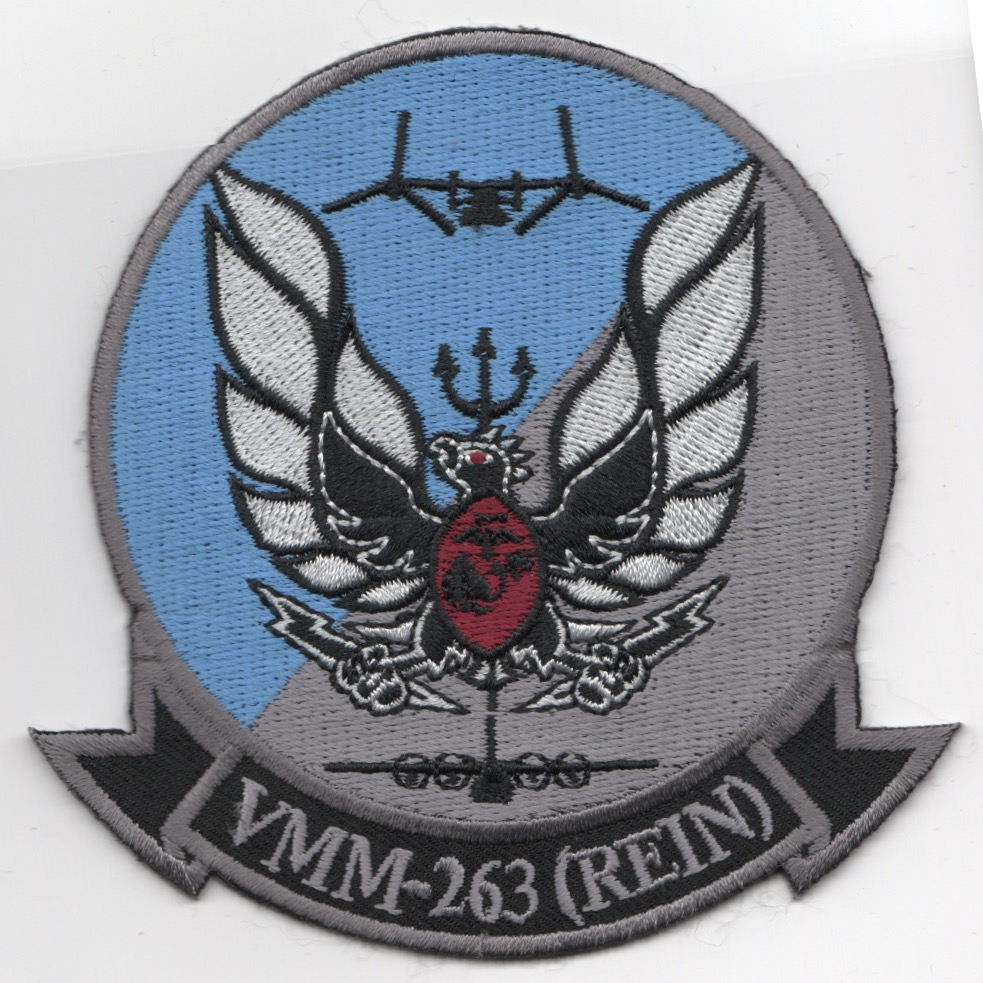 VMM-263 Squadron Patch (Gray/'REIN')